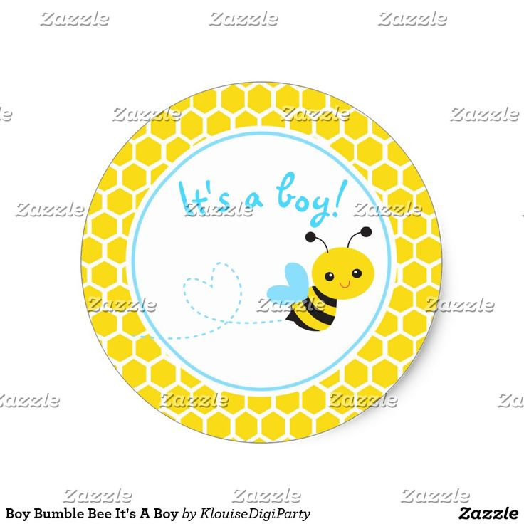 Boy Bumble Bee It's A Boy Classic Round Sticker