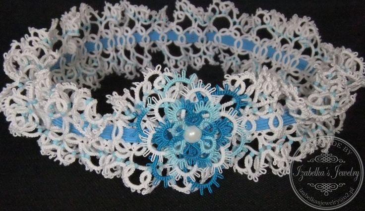 Koronkowa podwiązka wykonana ręcznie techniką frywolitki / Hand tatted lace garter