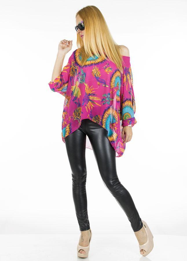Bluza Dama India  -Bluza dama casual  -Model ce cade lejer pe corp si poate fi purtat cu usurinta de mai multe tipuri de silueta  -Detaliu - imprimeul colorat si vesel va va face cu siguranta remarcata  -Ideala pentru sezonul cald     Compozitie: 100%Poliester