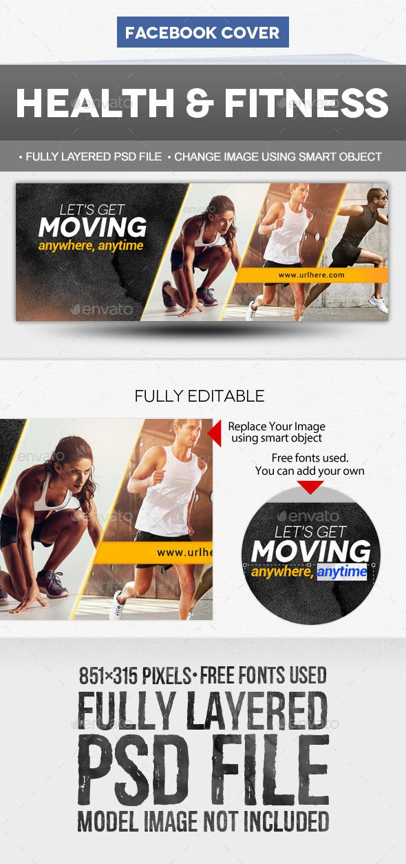 Health & Fitness Facebook Cover Template PSD #design Download: http://graphicriver.net/item/health-fitness-facebook-cover-template/12230621?ref=ksioks