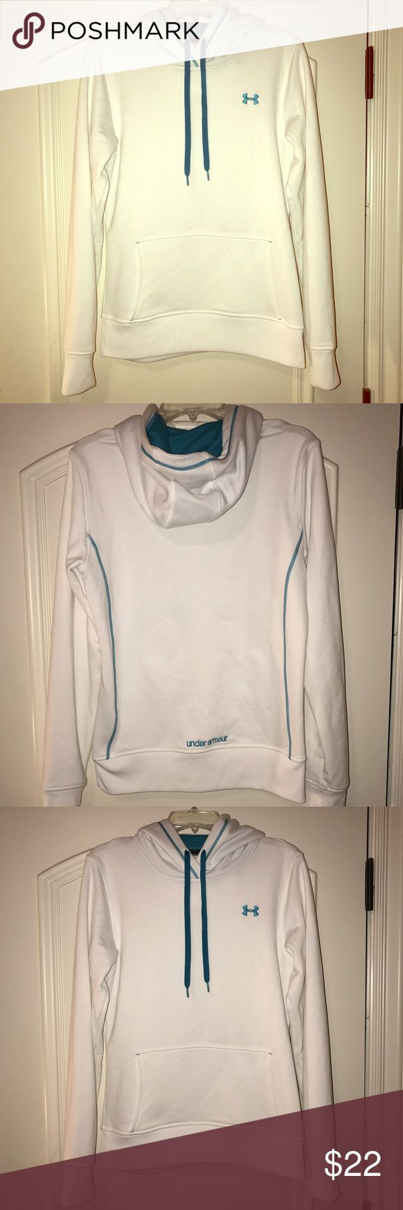 UNDER ARMOIR semi-fitted WOMENS HOODIE! Gently worn, very soft material, like dri-fit, size WOMENS MEDIUM. blue accents, so comfortable! I love this hoodie but I never wear it out! Under Armour Tops Sweatshirts & Hoodies