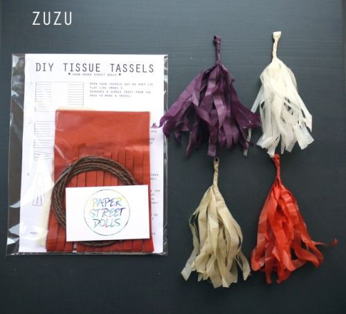Our D.I.Y. tassel kits are a fun and creative way to add some new home or party decor!  ZUZU kit:  dark purple, cream, beige, tan