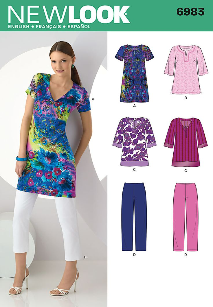 Womens tunic in two lengths Sewing Pattern 6983 New Look