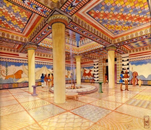 Watercolor reconstruction of the Pylos Throne Room by Piet de Jong [Credit: Department of Classics, University of Cincinnati] In researching one such floor in the Throne Room at the Palace of Nestor, one of the best-preserved palaces of the Mycenaean civilization, University of Cincinnati Department of Classics doctoral student Emily Catherine Egan has found evidence that the floor's painted designs, dating back to between 1300-1200 BC, were meant to replicate a physical hybrid of cloth and…