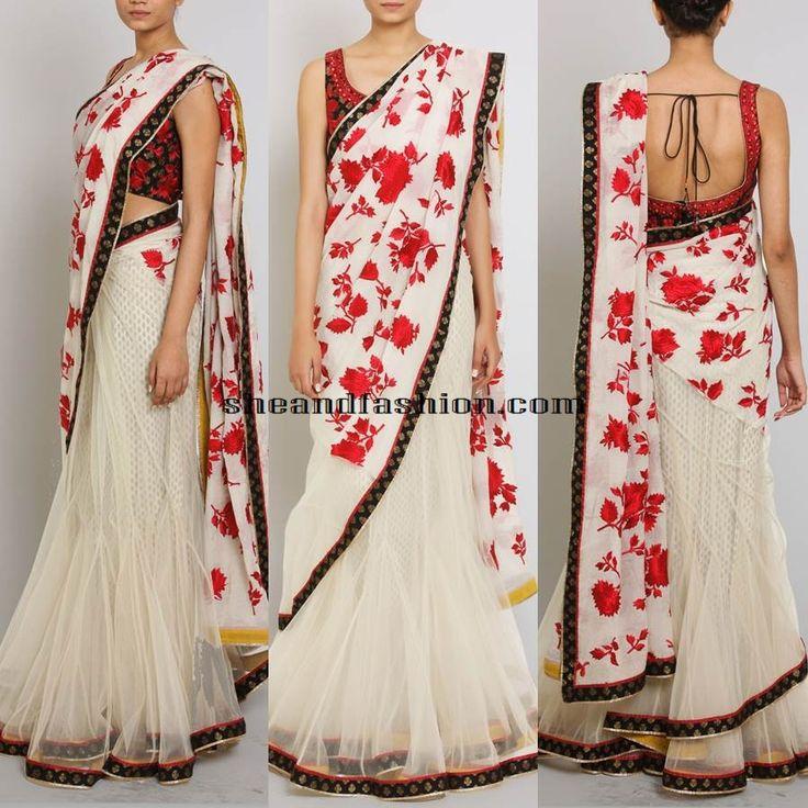 Ivory White net saree lehenga by designer ritu kumar