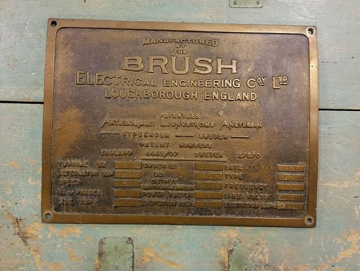 The Brush Loughborough Brass Steam Turbine Plaque 1926 Industrial Engineering in Collectables, Transportation, Agricultural/ Industrial | eBay!