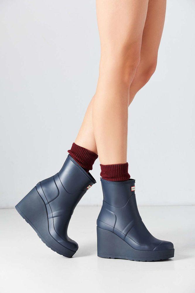 04602911b6b Hunter Original Mid Wedge Short Rain Boot in Blue NEW Size 8 Women s ...