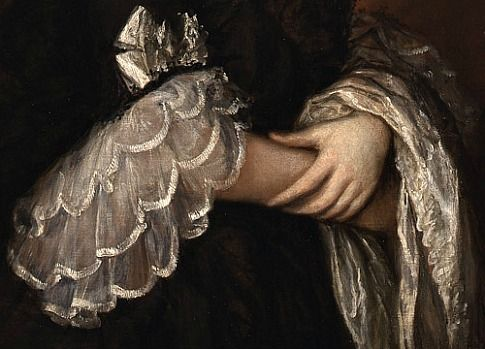Thomas Gainsborough, Maria Walpole Countess of Waldegrave later Duchess of Gloucester in a black mourning dress, detail (1763-66)