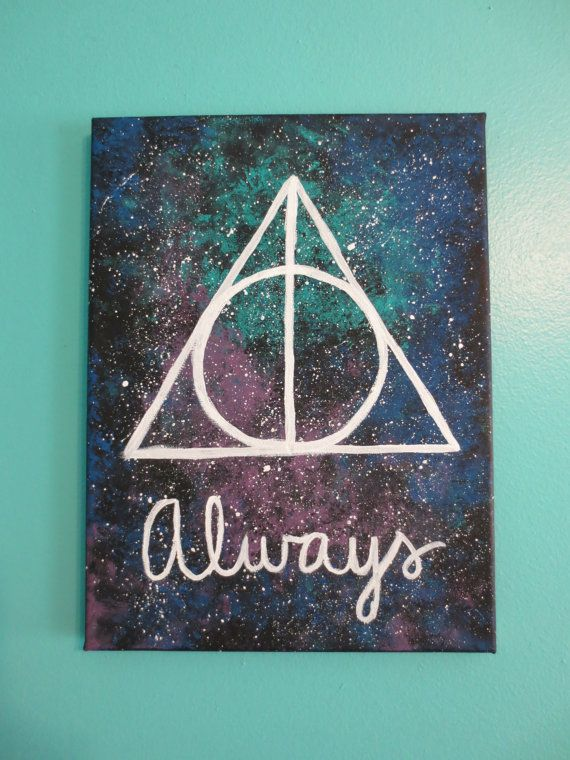 """Harry Potter Deathly Hallows """"Always"""" Galaxy Painting   $20.00   Anchors Away Studio   Etsy.com"""