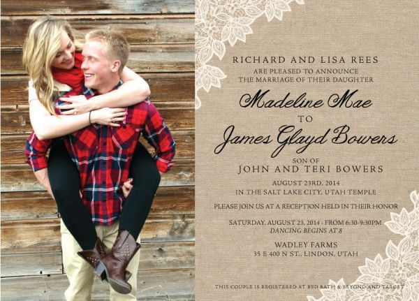 29 best Burlap Wedding Invitations images on Pinterest Burlap - best of invitation maker for wedding