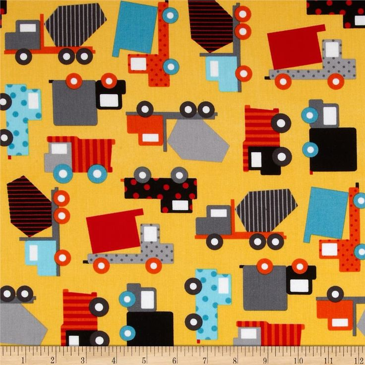 Ready Set Go Work Trucks Retro from @fabricdotcom  Designed by Molly Hatch for Blend Fabrics, this cotton print is perfect for quilting, apparel and home decor accents. Colors include yellow, orange, red, white, black and shades of blue and grey.