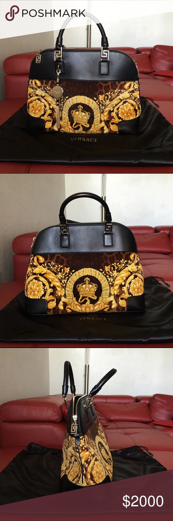 """Versace """"Vanitas"""" Athena velvet handbag - Like New This stunning handbag comes with a smooth leather upper,  a gold baroque print velvet bottom, a leather base, and gold hardware. Worn about five times, this bag is practically in new condition with no signs of wear. A definite standout piece in anyone's closet. Versace Bags Satchels"""