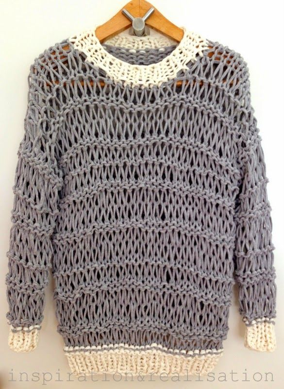 DIY Open Knit Sweater with T-Shirt Yarn