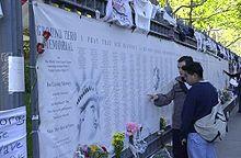 Liste des victimes affichée à New York