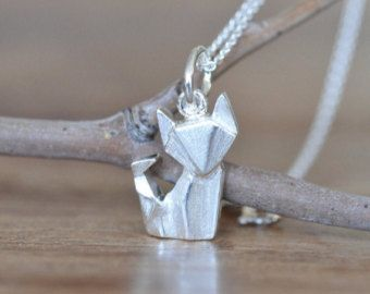 Origami-Fox-Collier in sterlingsilber 925, Fox Gold, Halskette, Halskette Silver Fox, Origami Tier Schmuck, Origami-Schmuck, Jamber Jewels