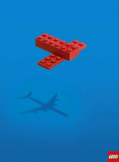 Loved the simple concept in this poster. The eye drifts naturally downward into the shadow of the Legos. A great ad that symbolizes the imagination that Legos foster. Best of all it conveys this this with absolutely no text.