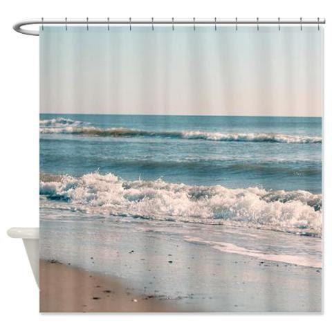 Beach shower curtain teal bathroom decor nautical by OurArtCloset