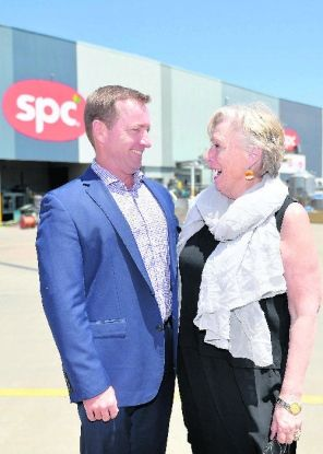 SPC managing director Reg Weine and Maggie Beer at the SPC plant in Shepparton yesterday.