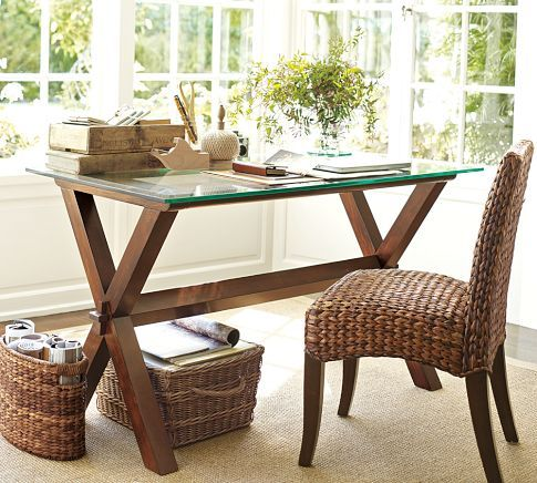 Same idea with this one, we could both sit and work at the same time on either side! Ava Desk | Pottery Barn