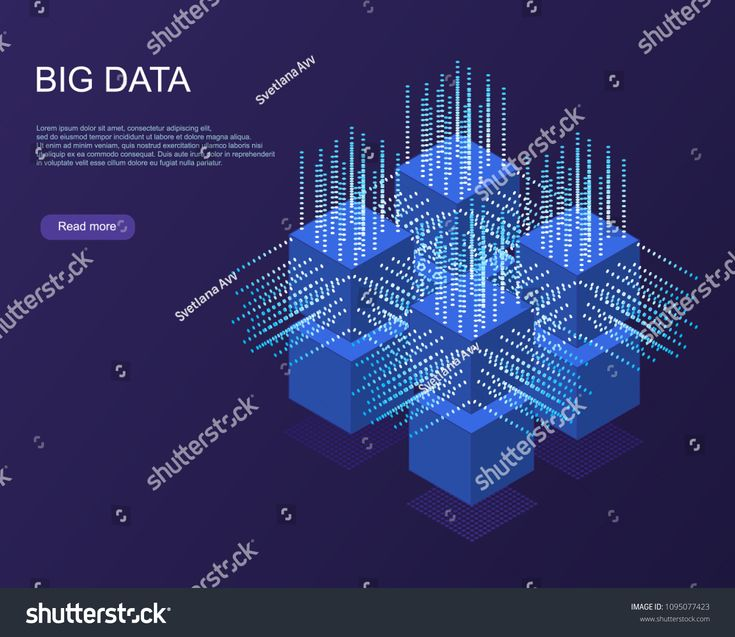 Digital Technology Web Banner. Big data Machine Learning Algorithms. Abstract banner analysis of Information. Isometric view. Science darck blue Backg…