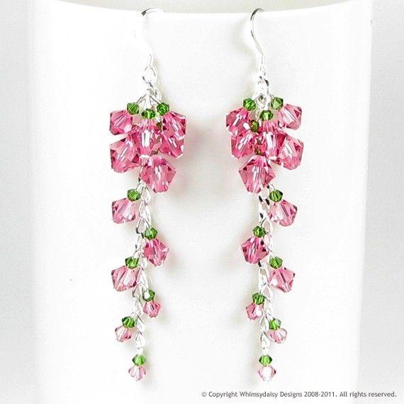 Cascading Tea Rose Crystal Earrings.