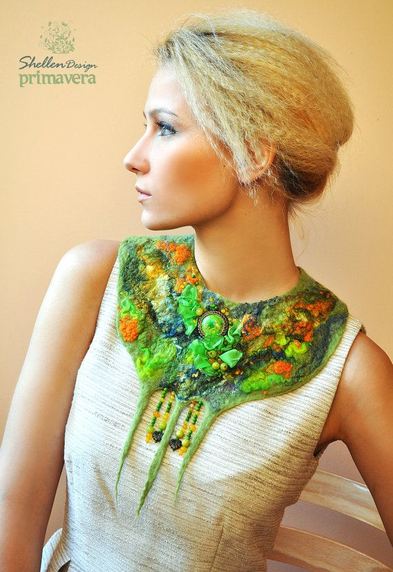 Hand+felted+nuno+Necklace+collar+Grass+Green+++Wool+by+ShellenD,+$75.00