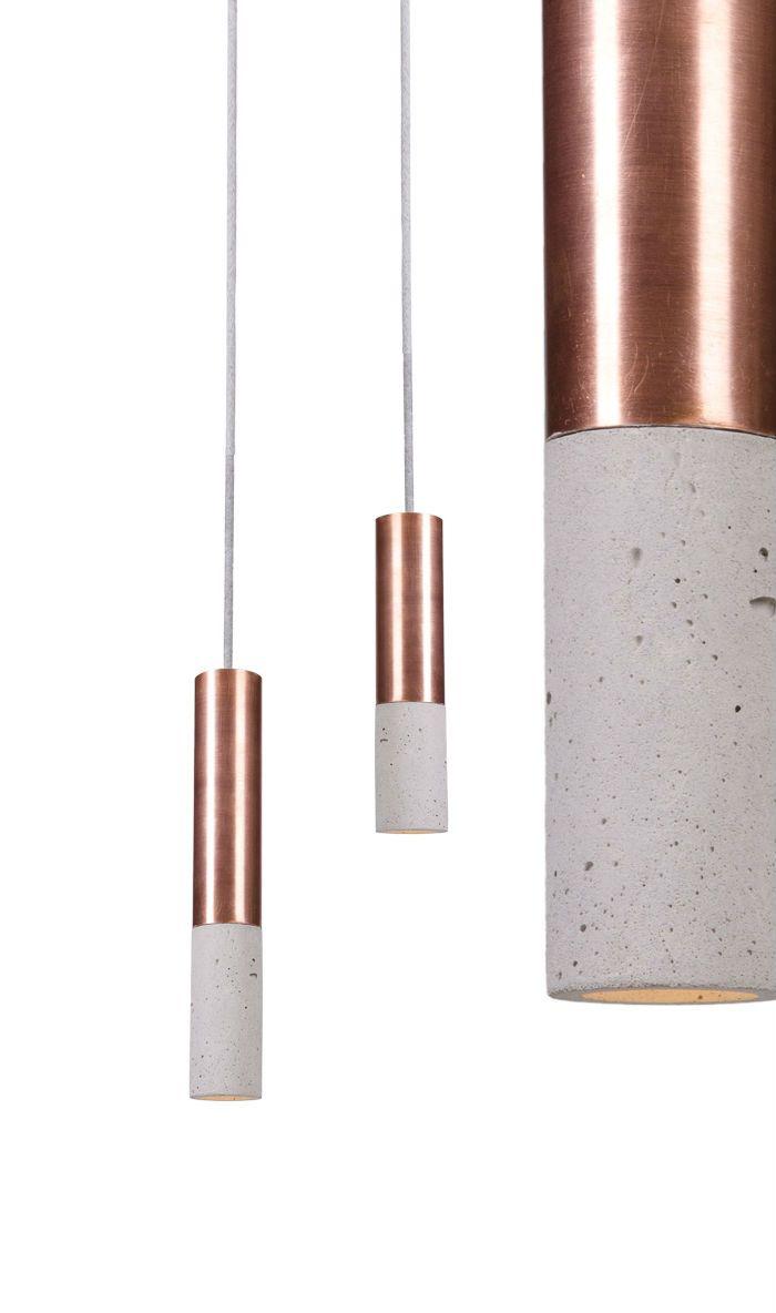 Kalla Inox series in Natural colour, Copper finish. Concrete lamp, designed and hand-made in Poland.