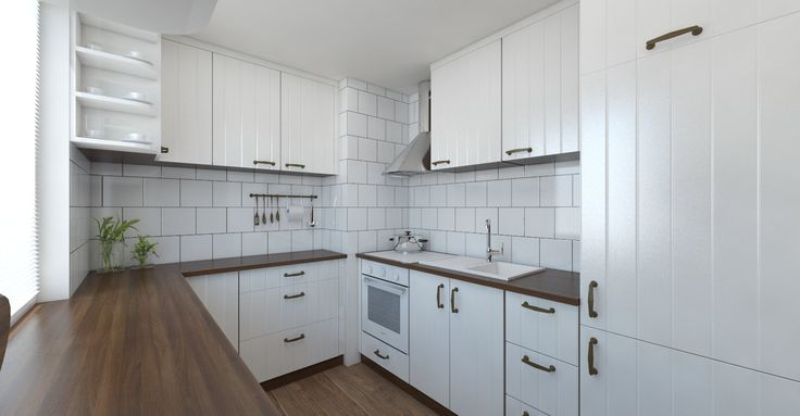Vizualizácia panelákovej kuchyne v rustikálnom štýle. Kuchynská linka - bila - orech-