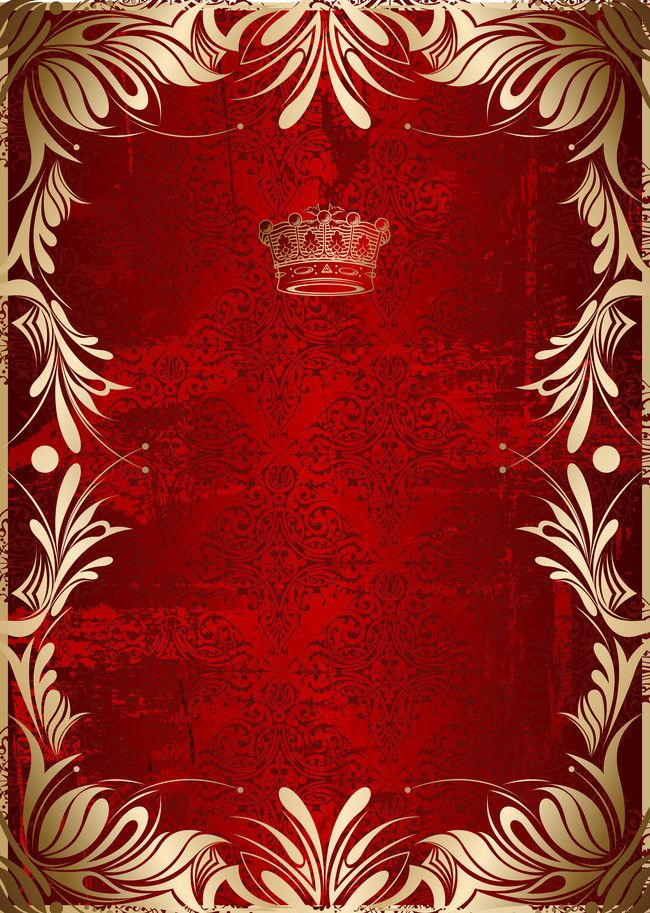 Gold Pattern On Red Background Vector Border Material