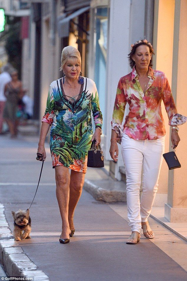 Ivana Trump Walks Her Tiny Pooch On The French Riviera In Customary Floral Dress Daily Mail