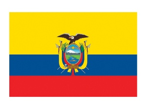 Yellow on the top half fertility and abundance.  Blue represents the independance from Spain.  Red represents the courage or the blood spilt from the fight for Ecuadors independance. The symbol in the middle of the flag represents the country protected beneath the wings of a condor, the huge national bird of Ecuador.