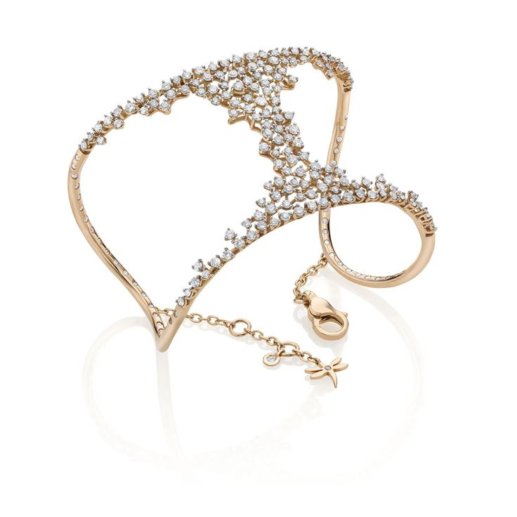 Casato Italian jewelry. Miss Chi cuff 18 kt rose gold, diamonds