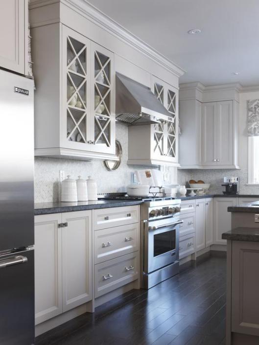 Sarah Richardson Kitchen... My dream kitchen. Dark wood floor and white cabinets. I would do subway tile for the backsplash though.
