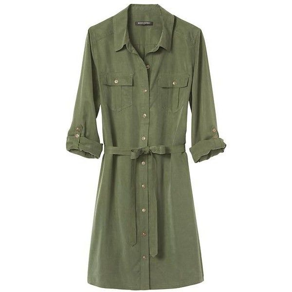 Banana Republic Factory Roll Sleeve Shirtdress ($40) ❤ liked on Polyvore featuring dresses, green dress, sleeve shirt dress, tie waist dress, green shirt dress and button front dress