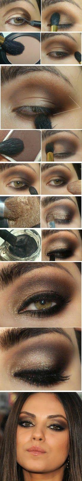 Como: Ouro e Castanhos Tutorial de maquiagem lindo. / How to : Gold and Brown Gorgeous Makeup Tutorial.