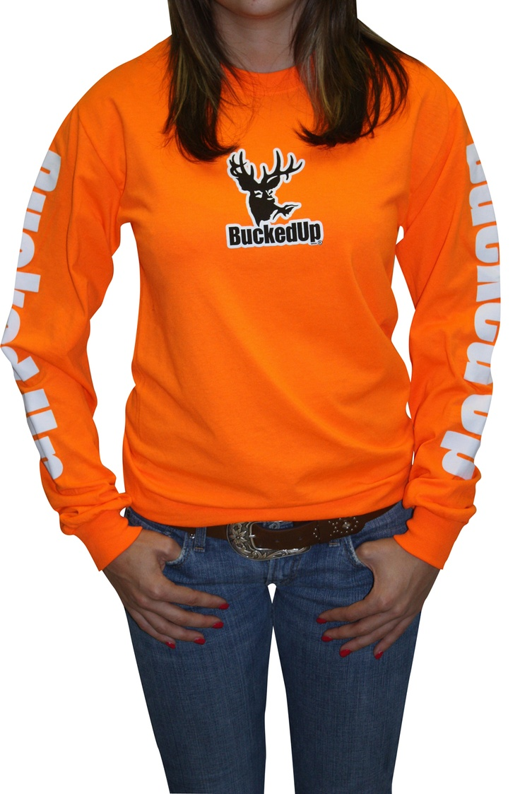 Orange and White Long Sleeve Bucked Up Shirt for Women