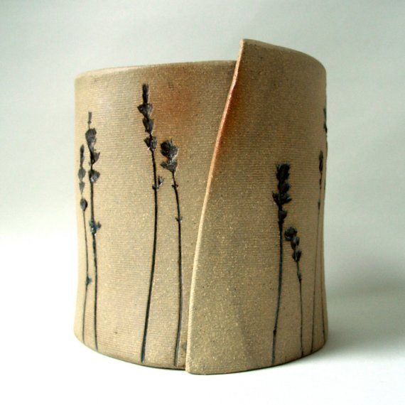 Organic lavender planter by OrganicCeramic on Etsy stamps like feather, florals…