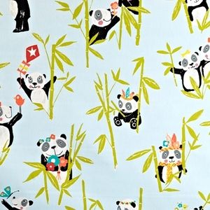 Panda Aqua 100% Cotton 137cm wide | 64cm Curtaining