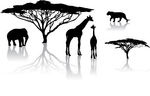 safari animal and tree silhouettes graphic