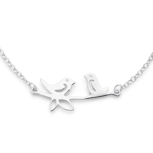Sterling Silver Two Birds on Branch Necklet | Pascoes The Jewellers
