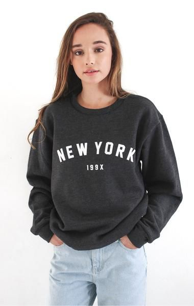 NYCT Clothing New York 199x Crewneck Fleece Sweater in Dark Heather Grey