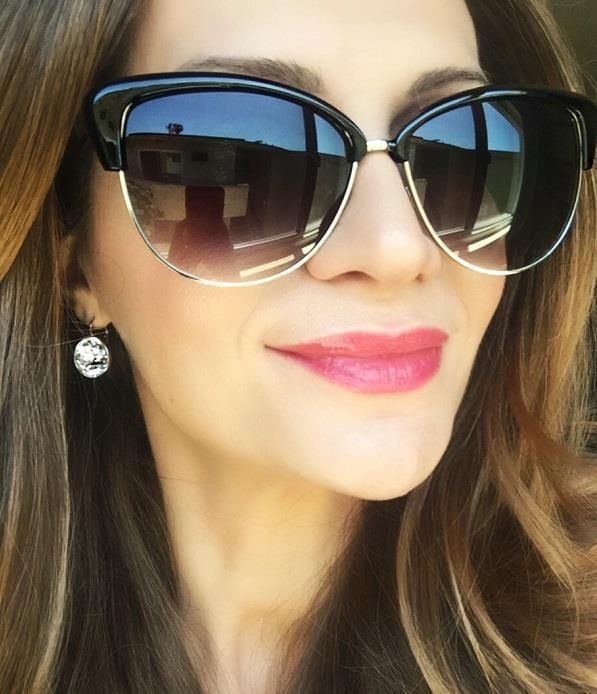 Chic Large Cat Eye Glossy Black Metal Wire Alisha Shades Popular Sunglasses 6043
