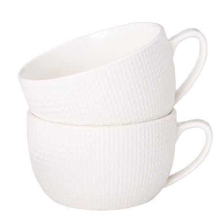 Elements Soup Mug Set of 2 Porcelain Knit