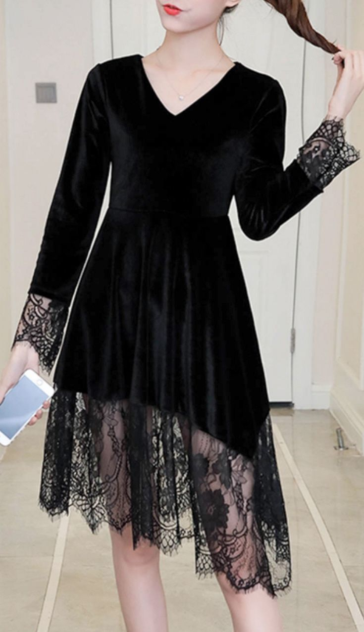 Sizes S Xl Black Velvet Midi Skater Dress With Sheer Black Lace Ruffle Bell Long Sleeves Black Dress Outfit Party Little Black Dress Outfit Black Dress Outfits [ 1277 x 735 Pixel ]