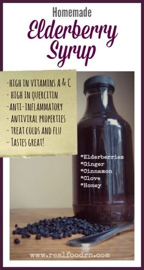 Homemade Elderberry Syrup! Used to prevent colds and flu. We take it at the first sign of flu season and continue to take it daily throughout the winter months. Tastes great, my kids LOVE it!
