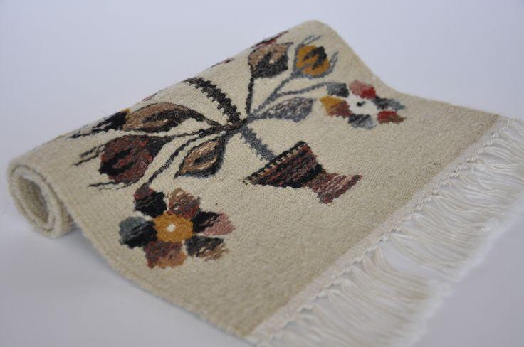 Rustic home decor, handmade wool area rug with the tree of life  symbol - traditional Romanian folk art at Valdinia.com