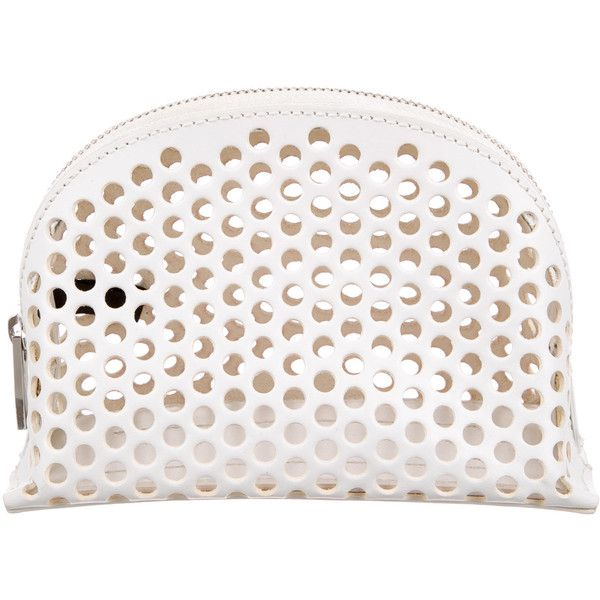 Pre-owned Loeffler Randall Perforated Leather Cosmetic Bag found on Polyvore featuring beauty products, beauty accessories, bags & cases, white, travel kit, toiletry bag, toiletry kits, travel bag and wash bag