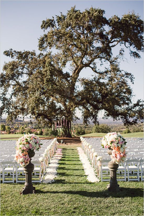 Full petal aisle with arrangements on plinths at the start of the aisle