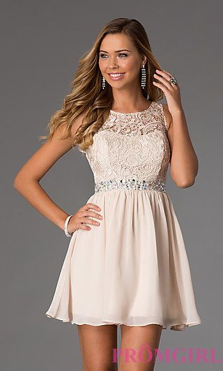 Short Sleeveless Dress with Lace Bodice  at PromGirl.com