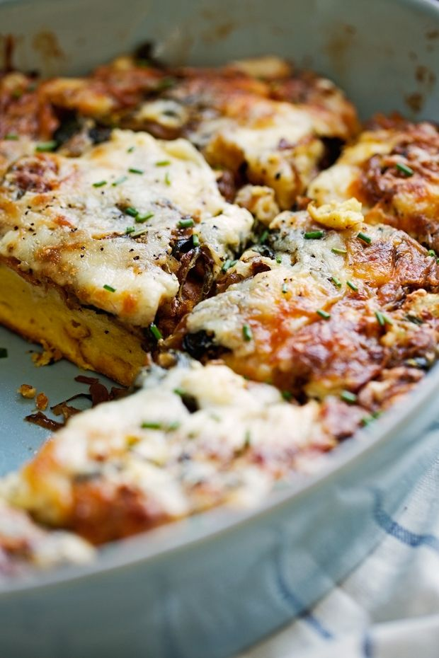 Caramelized Onion Spinach Feta Savory French Toast Casserole - The perfect casserole to make ahead and bake off in the morning. Hearty and delicious.